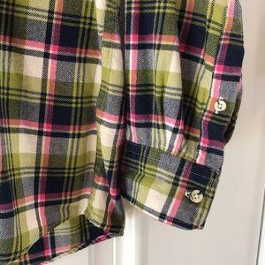Uniqlo Shirts - Uniqlo lime/black/pink plaid flannel shirt, large